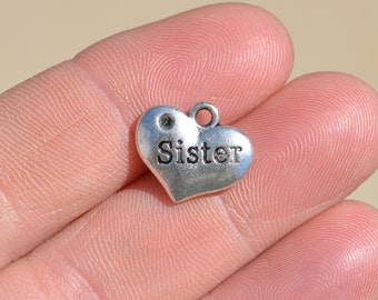 5 Silver SISTER Heart Shaped Charms SC2736