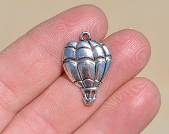 1 Silver Hot Air Balloon Charm SC3015
