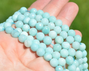 1 Strand Amazonite 8mm Faceted Round Beads BD845