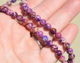32 Purple Sea Sediment 6mm Round Beads  BD808
