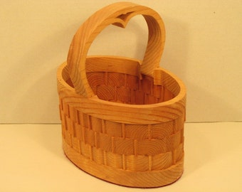 Oval Basket Small with Handle Handmade
