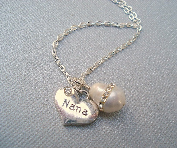 pearl necklace nana necklace personalized by rhondastreasures