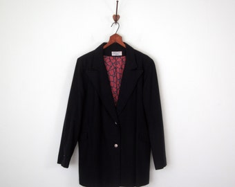 60s jacket / navy wool winter swing coat (m - l)