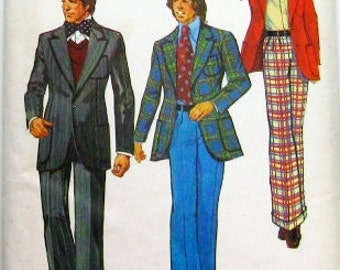 70s Mens Jacket and Wide Leg Pants Pattern: Simplicity 5765, Mens Retro Style from 1973