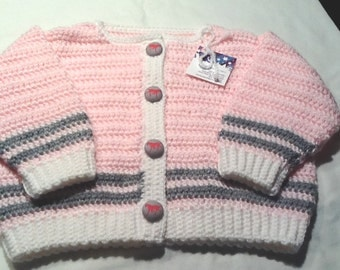 Handmade Crocheted Girl Sweater in Pink with Horse Buttons