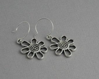 Flower earrings, swirly flower, silver earrings