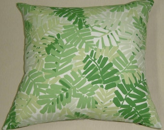 pillow throw pillow sunbrella stripes print outdoors indoors pillow palm leaf shades of green shabby chic SALE