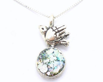 Bird pendant necklace with ancient roman glass set in sterling silver