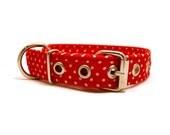 Red dog collar - Polka dot pet collar - Metal buckle dog collar - Red and white polka dots dog collar with metal buckle