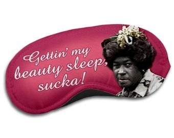 Gettin my beauty sleep, sucka! Aunt Esther pink sleep / eye mask by Kymm! Bang