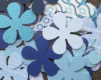 DESTASH - 25 Assorted Blue 5 Petal Flower Die Cuts