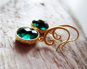 Emerald earrings.  Green earrings.  Framed glass earrings.  Gold earrings.  May birthstone.