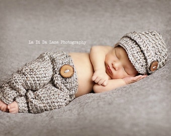Grey 0 to 3 Month Visor Beanie and Pants, Newborn Newsboy Hat and Pants