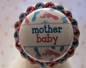 Mother Baby Name Tag ID Badge Holder Reel using Swarovski Elements with Pacifier Charm Nurse Peds OB Nursery NICU Mother Baby Postpartum