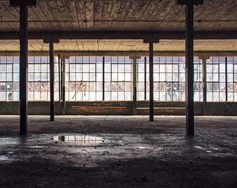 Architecture Photography, Geometric Modern, Abandoned, Urban Decay, Art Print, Window Photography, Dark Moody, Industrial, Urbex Photography