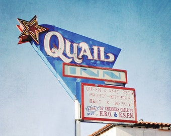 Quail Inn Roadside Motel Photography, Retro Vintage Mid-Century Modern Photograph, Neon Motel Sign, Bright Blue, Red White Star, Arizona