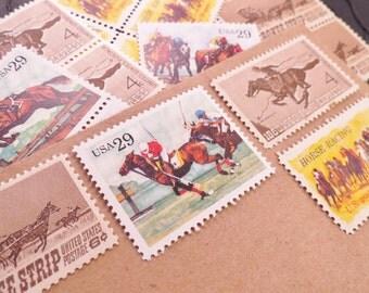 Equestrian .. UNused Vintage Postage Stamps  .. post 5 letters