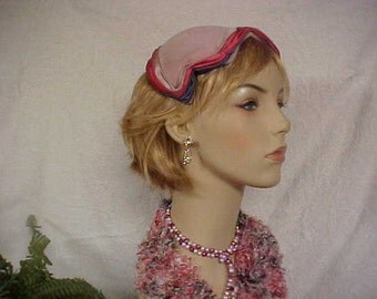 40's pink velvet fascinator hat trimmed with pink blue and taupe  satin edge- spreads to fit