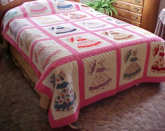 REDUCED.  antique -vintage 1940's hand quilted Southern Belle Umbrella Lady quilt-bedspread-home decor