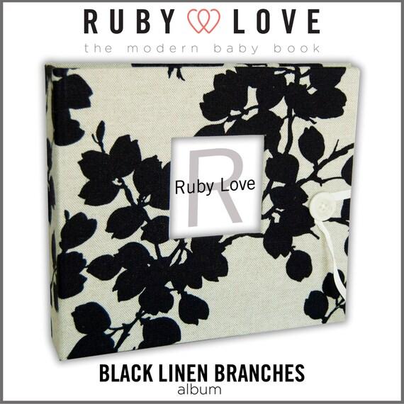 Black Linen Branches Album - Ruby Love Modern Baby Memory Book