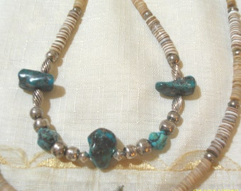 GENUINE Vintage Long Turquoise  Nugget and Sterling Silver Necklace - NOS - Beautiful - OOAK - 1970 Era