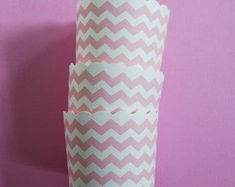Scallop Baking Cups in Light Pink Chevron (12)