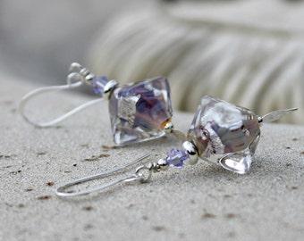Glass Lampwork Drop Earrings - Silver, Purple, Mauve