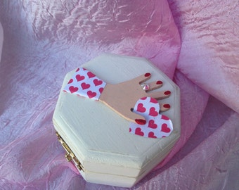 Engagement Ring Box, Gift Box, Ring Box, Jewelry Box, Wedding Box, Valentine Box, Hexagon Wood Box