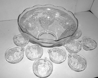 Vintage Anchor Hocking Clear Glass Grape Design Punch Bowl and 12 Matching Cups