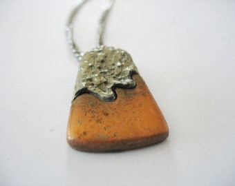 Metal Triangle Pendant Mixed Metals Copper Pewter Rounded Edges 1980's Unisex Textural