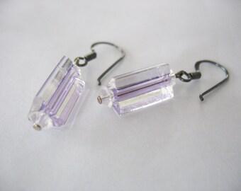 Handblown Glass Earrings Purple Clear 1980's