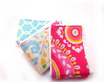 Girl Burp Cloth set of 3 - Pink Blue Yellow Cream  Floral Diaper Burp Cloth