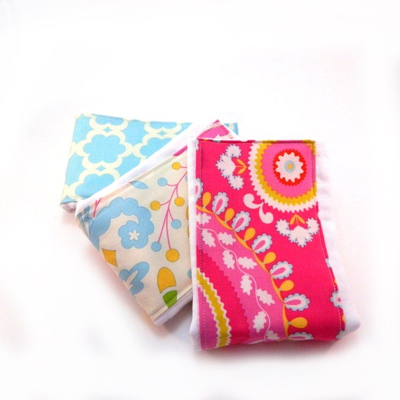 Girl Burp Cloths - Floral- Set of 3 - Pink Blue Yellow Cream