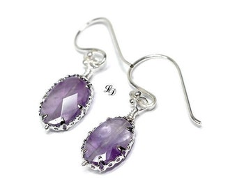 Earrings with Amethyst and silver, handmade, elegant, boho, luxury, womans earrings, amethyst, purple, dangle - Free shipping!