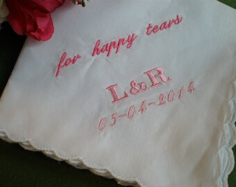 Happy Tears Hankerchiefs. Set of 3.Scalloped  Bridal Party. Mother of Bride andGroom. Bridal. Wedding