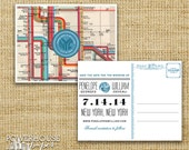 New York Subway Map Postcard Save the Date
