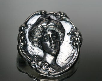 Brooch - Art Nouveau Style Brooch- Female - Vintage