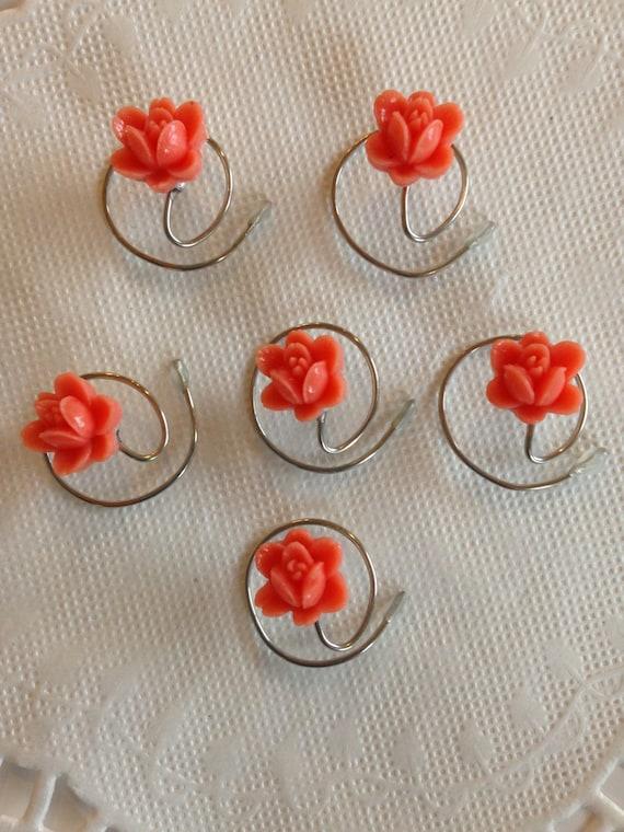 Hair Swirls Spin Pins Spirals in Coral Boutique Flowers (Qty 6)