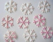10 pink & white iridescent snowflake appliques and embellishments EM-371