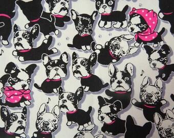 2497 -- Adorable Bulldog Fabric, Lovely Puppy Fabric, Cotton Canvas, Half Yard
