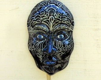 VooDoo Woman Ceramic Mask-Black and White-ceramic face mask