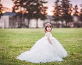 The Miniature Bride White Flower Girl Dress with Detachable Train