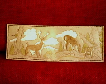 3 Deer in Forest Handmade Leather Wallet
