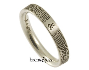 Personalized Fingerprint Wedding Band Handcrafted in the US,  Our Exclusive  Narrow  You & Me Forever Personalized Ring