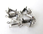Pronged Setting Antiqued Silver Ox Plated Bell Rhinestone Open Back 2 Ring 8mm set0263 (8)