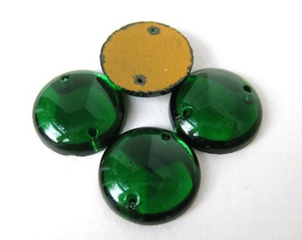 Vintage Glass Beads Emerald Green Sew On 2 Hole Cabochon Connector 15mm gcb0971 (4)