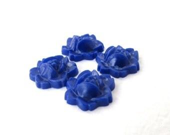 Vintage Flower Cabochon Blue Rose Navy Plastic Carved Effect 12mm pcb0296 (8)