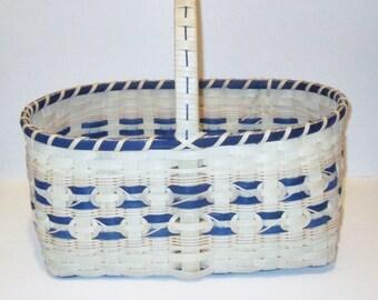 Picnic Basket, Hand Woven Market Basket, Blue Basket