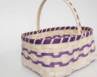 Flower girl Basket - Junior Bridesmaid Basket - Easter Basket - Small Market Basket