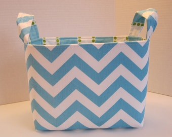 Large Turquoise and White Chevron Fabric Basket
